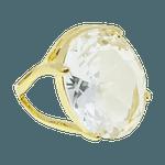 Anel Oval Semijoia Banho de Ouro 18k Cristal Incolor