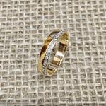 Anel Aparador Semijoia Banho de Ouro 18k Cravação Completa de Zircônias