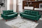 Conjunto Sofá Bariloche 2 e 3 Lugares Essencial Estofados Verde