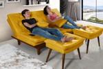 Sofa Cama Reclinavel Caribe + Duas Banquetas Rubi Essencial Amarelo