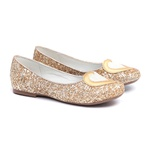 Sapatilha Glitter Coração Dourada