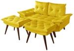 Sofá 2 Lugares em Courino Amarelo Bariloche Com Duas Banquetas Rubi