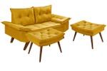 Sofá 2 Lugares Bariloche Amarelo Com Duas Banquetas Rubi em Suede
