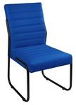 Cadeira Para Escritório ou Sala de Jantar em Couro Sintético Azul Marinho Pés em Aço na Cor Preta