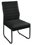Cadeira Para Escritório ou Sala de Jantar em Couro Sintético Preto Pés em Aço na Cor Preta