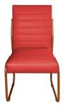 2 Cadeiras Sala de Jantar em Couro Sintético Vermelho Pés Cobre