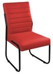 Cadeira Para Escritório ou Sala de Jantar em Couro Sintético Vermelho Pés em Aço na Cor Preta
