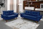 Conjunto Sofá Bariloche 2 e 3 Lugares Essencial Estofados Azul Marinho