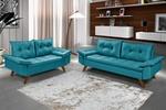 Conjunto Sofá Bariloche 2 e 3 Lugares Essencial Estofados Azul Turquesa