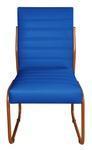 2 Cadeiras Sala de Jantar em Couro Sintético Azul Marinho Pés Cobre
