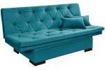 Sofá Cama Com Bau Reclinável Suede Liso Azul Turquesa