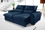 Sofá Retrátil Reclinável Dubai Luxo Com Molas Ensacadas 2,05m Azul Marinho