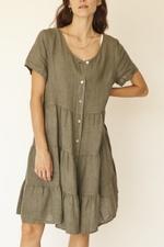 Vestido Anne Linho Italiano. Sálvia/ Tamanho único