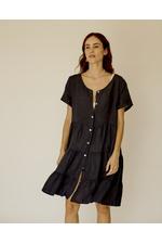 Vestido Anne Linho Italiano. Marinho/ Tamanho único