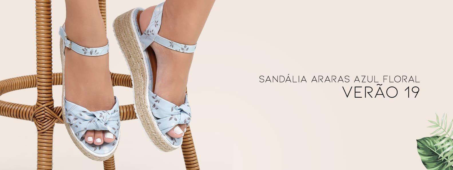 Sandália Azul Floral - Violanta Calçados