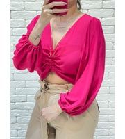 CROPPED MANGA REGULAGEM - PINK