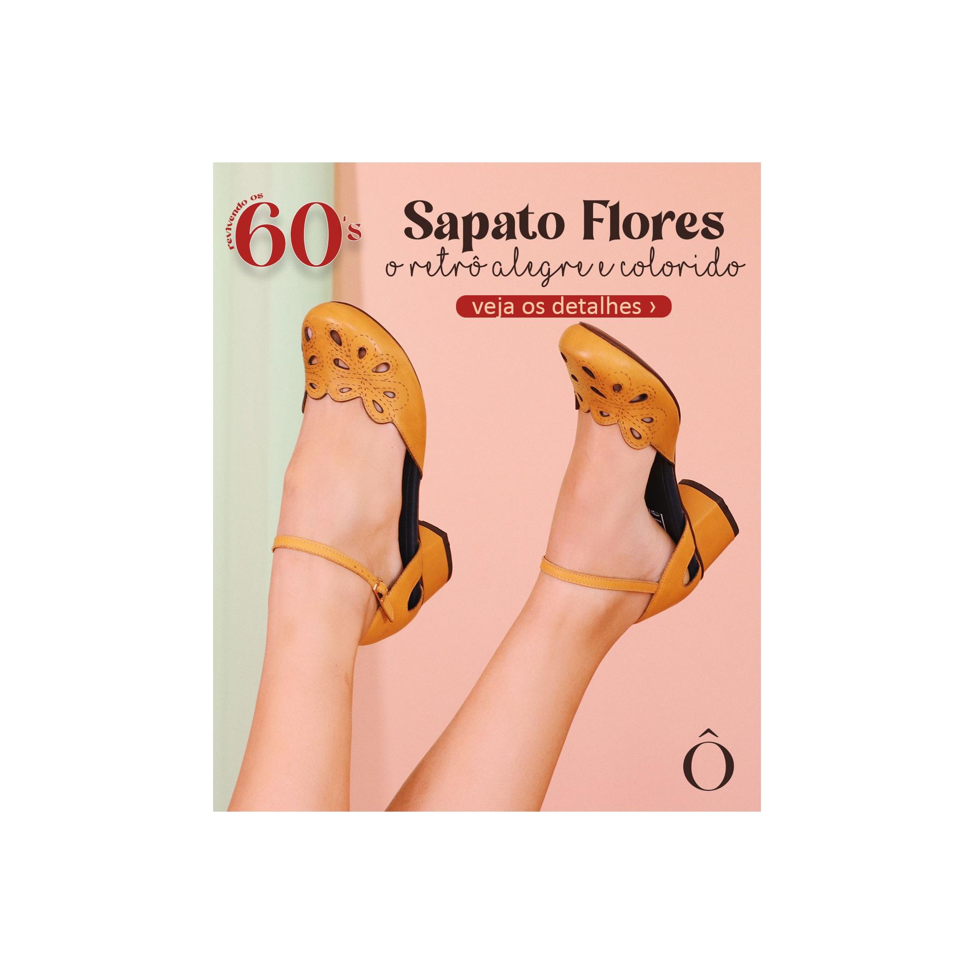 Sapato Flores Mostarda