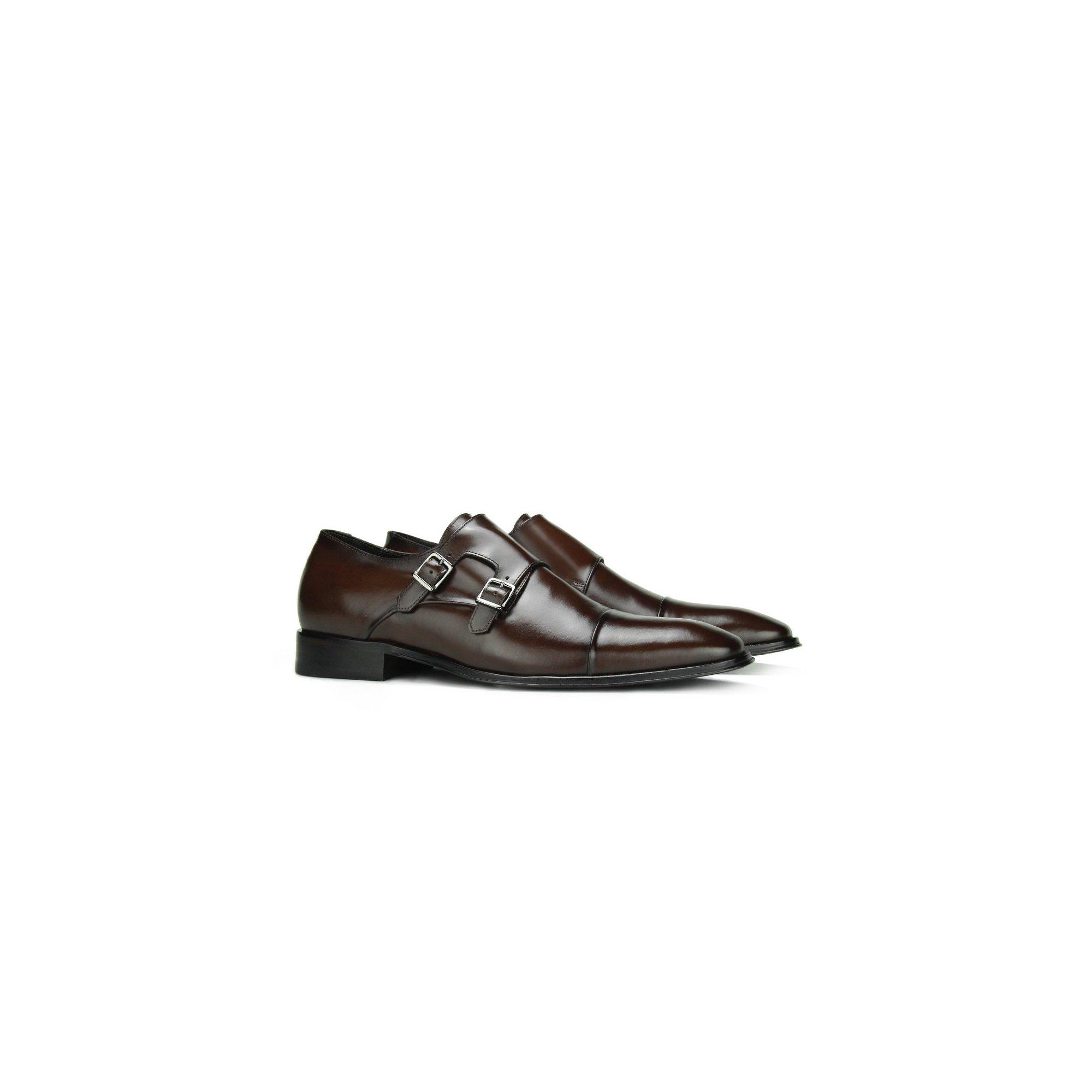 Sapato Social Masculino Monk Strap Marrom Couro Legítimo Monbran Dressy 0319039C