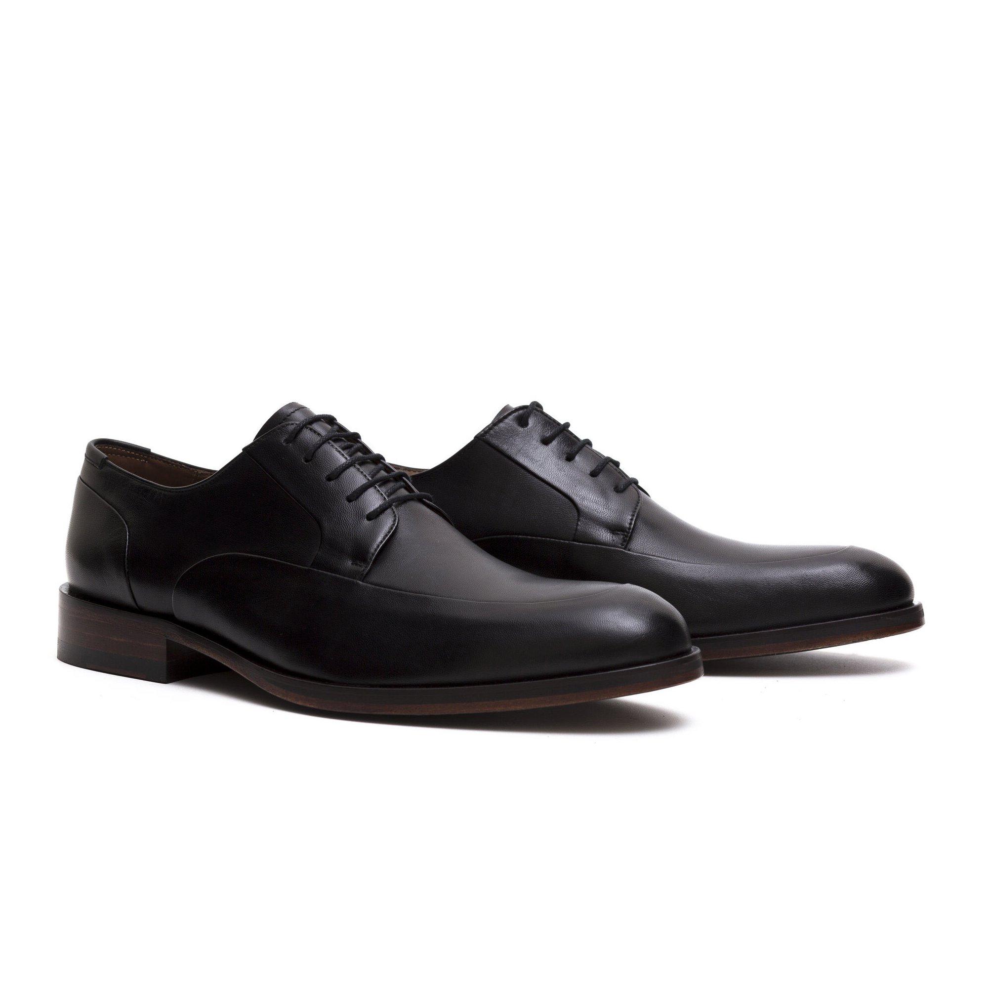 Sapato Social Derby Masculino Preto Couro Legítimo Monbran Dressy Civil 02025P