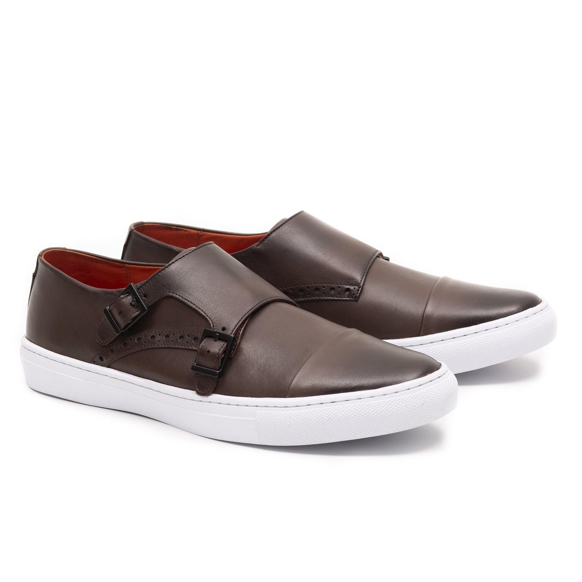 Sapato Casual Monk Strap Café Couro legítimo Monbran Dressy Richards 14446C