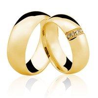 Alianças de Ouro 18k/750 com Diamante AL01