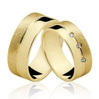 Alianças de Ouro 18k/750 com Diamantes AL109