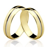 Alianças de Ouro 18k/750 Com Filete de Ouro Branco...