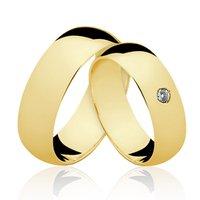 Alianças de Ouro 18k/750 com Diamante AL21