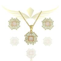 Conjunto Zirconia Lesprit Dourado Cristal e Quartz... - LESPRIT BIJOUX FINAS