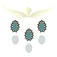 Conjunto Zirconia Lesprit P0017331 Dourado Azul e ... - LESPRIT BIJOUX FINAS