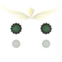 Brinco Zirconia Lesprit Rodio Negro Verde - LESPRIT BIJOUX FINAS