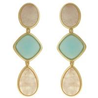 Brinco Pedra Lesprit Dourado Quartzo Rosa e Azul - LESPRIT BIJOUX FINAS