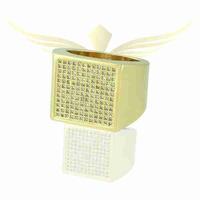 Anel Zircônia Lesprit 4207 Dourado Cristal - LESPRIT BIJOUX FINAS