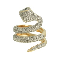 Anel Cobra Zircônia Lesprit Dourado Cristal - LESPRIT BIJOUX FINAS