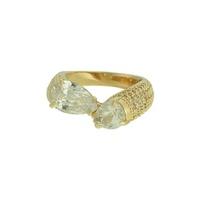 Anel Zircônia Lesprit LA07361WGL Dourado Cristal - LESPRIT BIJOUX FINAS