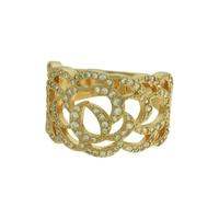 Anel Zircônia Lesprit LA07411WGL Dourado Cristal - LESPRIT BIJOUX FINAS