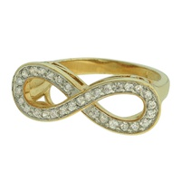 Anel Zircônia Lesprit DAE4871 Dourado Cristal - LESPRIT BIJOUX FINAS