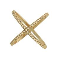 Anel X Zircônia Lesprit 60005361 Dourado Cristal - LESPRIT BIJOUX FINAS