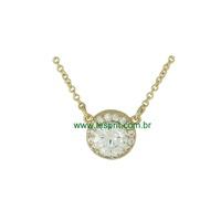 Colar Zircônia Lesprit 00053 Dourado Cristal - LESPRIT BIJOUX FINAS