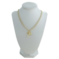 Colar Chave e Cadeado Metal Lesprit 00319 Dourado - LESPRIT BIJOUX FINAS