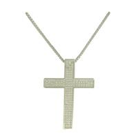 Colar Crucifixo Zircônia Lesprit LC01431WRH Ródio ... - LESPRIT BIJOUX FINAS