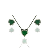 Conjunto Colar Zirconia Lesprit Rodio Negro Verde ... - LESPRIT BIJOUX FINAS