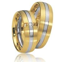 Aliança de Casamento em Ouro Amarelo e Branco com Brilhante