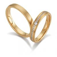 Aliança de Casamento em Ouro 18k cravejada com Diamantes fosca