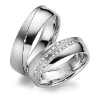 Aliança De Casamento em Ouro Branco 18k com Diamantes