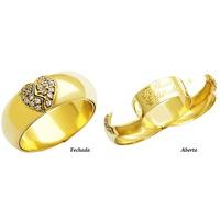 Aliança Aberta coração em Ouro Amarelo 18k 750