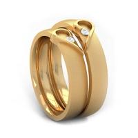 Aliança em Ouro Amarelo Coração Relevo com Diamantes