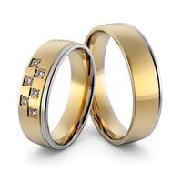 Aliança em Ouro 18k Amarelo e Branco com Diamantes