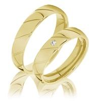 Aliança Trabalhada em Ouro 18k com Diamante