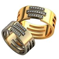 Par de Alianças em Ouro Amarelo e Branco - com Diamantes